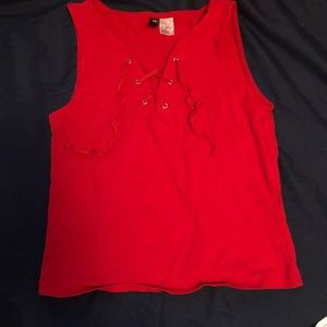 H&M Red Cropped Tank Top
